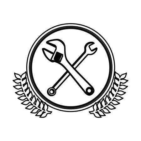 monkey wrench: figure symbol wrench and monkey wrench icon, vector illustration design image