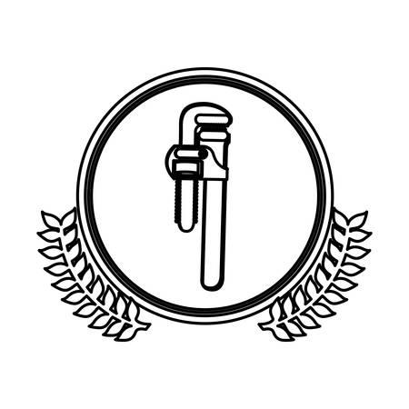 figure symbol pipe wrench icon stock, vector illustration design