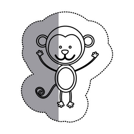 santa sleigh: contour teddy monkey icon, vector illustration design image Illustration