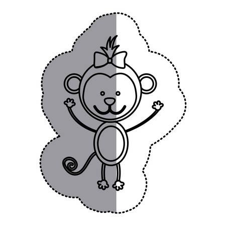 silhouette teddy monkey bow head, vector illustration design Illustration