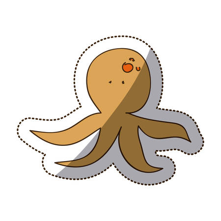 brown octopus icon stock, vector illustration design image Illustration