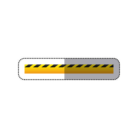 dangerous construction: sticker striped hazard tape line construction design vector illustration