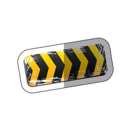 dangerous construction: sticker emblem striped hazard tape line construction design vector illustration Illustration