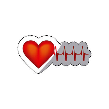 sticker heart shape with beats and signs life vector illustration Illustration