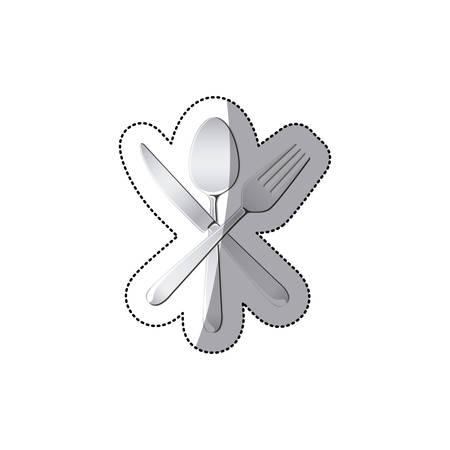 sticker set cutlery kitchen elements vector illustration