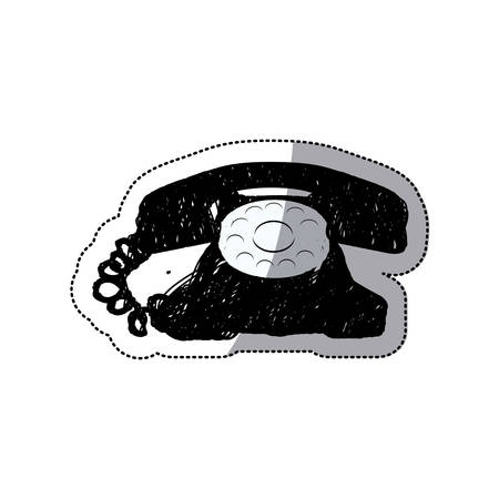 sticker black silhouette antique phone design with cord vector illustration