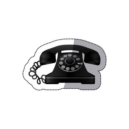 antiquated: sticker monochrome silhouette antique phone with auricular vector illustration Illustration
