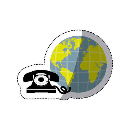 world receiver: sticker opaque earth world with silhouette antique phone vector illustration