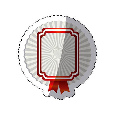 sticker radial background with rectangle heraldic border and red ribbon vector illustration Illustration