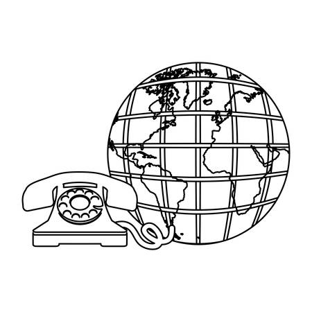 world receiver: sketch earth world with silhouette antique phone vector illustration