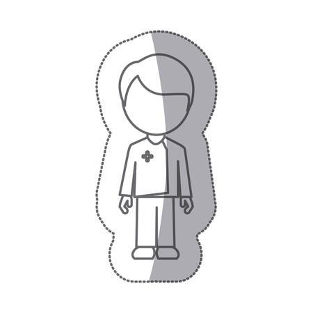 grayscale contour sticker with faceless male nurse vector illustration Illustration