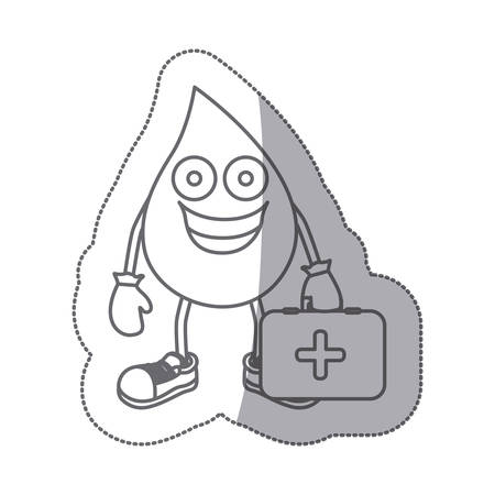 spill: grayscale contour sticker with animated drop blood symbol and donation equipment vector illustration