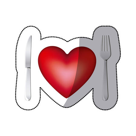 sticker with healthy heart food vector illustration