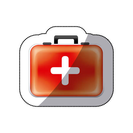 sticker color suitcase with blood donation kit vector illustration