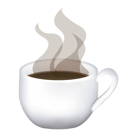 image color with hot cup of coffee close up Illustration