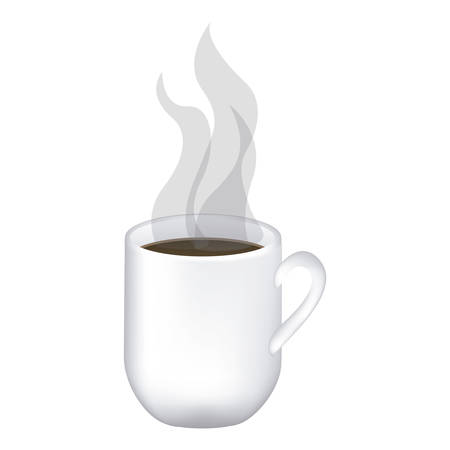image color with hot mug of coffee close up vector illustration