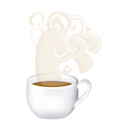 image color with hot cup of tea and fresh smelling vector illustration