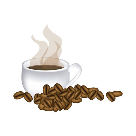 image color with hot cup of coffee and coffee beans vector illustration