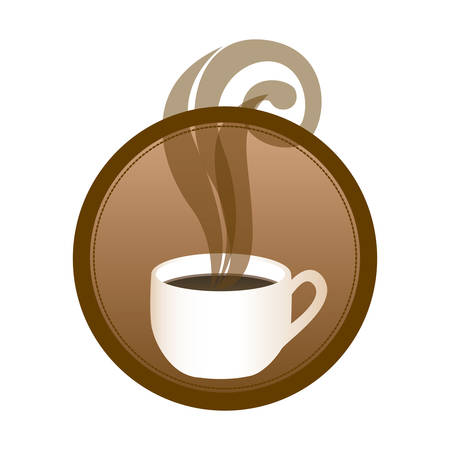 circular emblem with hot cup of coffee vector illustration Illustration