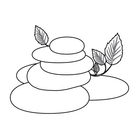contour of spa therapy lava stones and creeper plant vector illustration Illustration