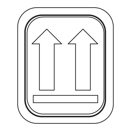 monochrome contour logistic with icon this side up vector illustration Illustration