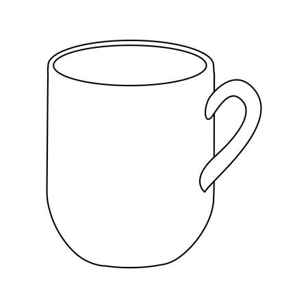 monochrome contour with mug of coffee close up vector illustration