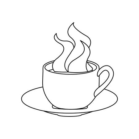 monochrome contour with hot cup of coffee serving on dish vector illustration