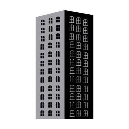 단색 아파트 건물 벡터 일러스트와 함께