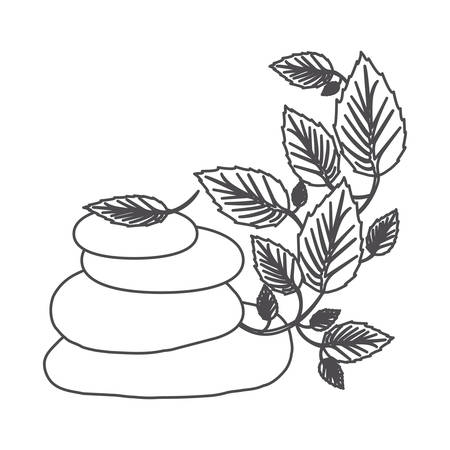 grayscale contour of lava stones and creeper plant vector illustration