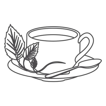 grayscale contour of hot cup of tea vector illustration