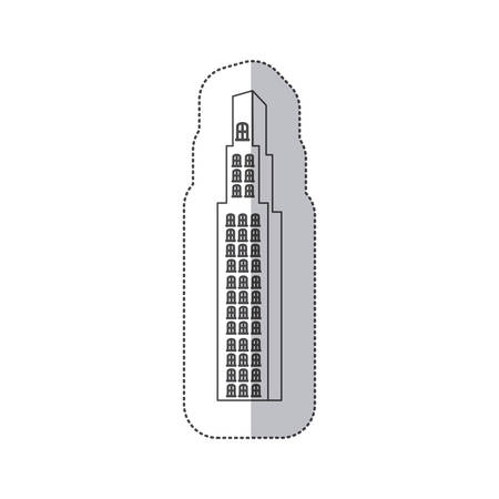 마천루 벡터 일러스트 레이 션을 구축하는 흑백 단색 컨투어