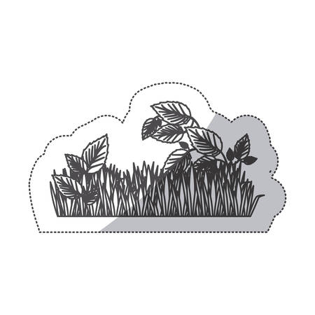 grayscale contour sticker of field grass and plants vector illustration