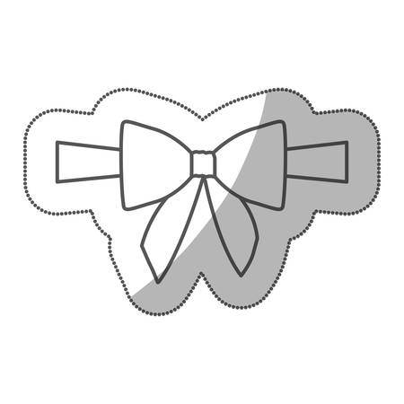 sticker silhouette satin center ribbon and bow wrapping vector illustration