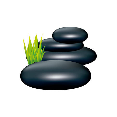 color spa volcanic rocks with grass icon, vector illustraction design