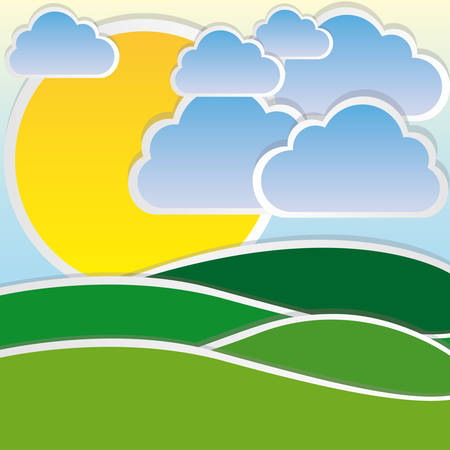 color sun with cloud and mountain icon, vector illustraction design Illustration