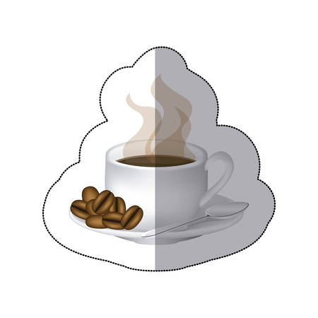 color coffee cup with steam and coffee grains in the plate, vector illustraction Illustration