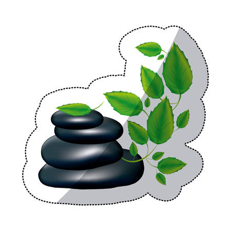 preventive: spa volcanic rocks with branches and leaves, vector illustraction design