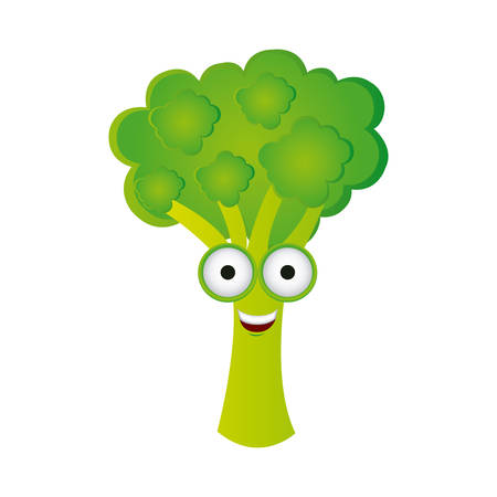 cartoon tomato: happy broccoli icon, vector illustraction design
