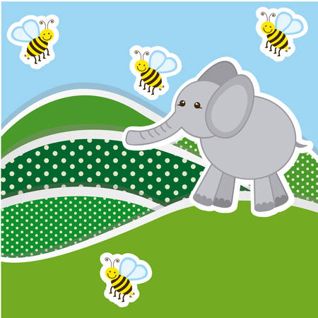 color mountains with bees and elephant icon, vector illustraction