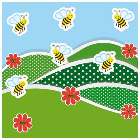eco flowers basket: mountains with flowers and bees icon, vector illustraction design image Illustration