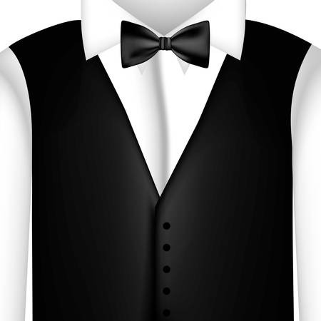 sticker shirt with bow tie and waistcoat, vector illustraction design