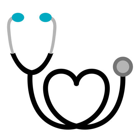 black sticker stethoscope with heart icon, vector illustraction design Illustration