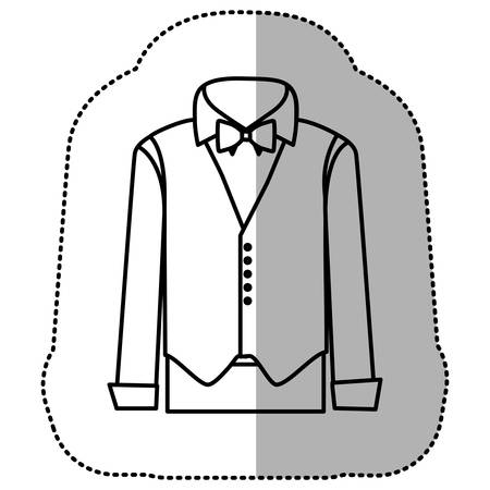waistband: contour sticker suit with shirt, waistcoat and pants, vector illustraction design Illustration