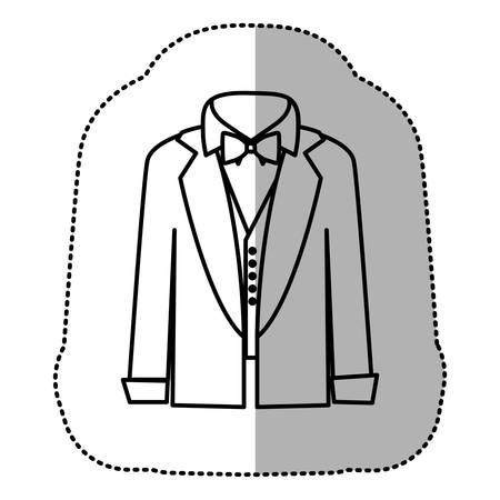 contour sticker shirt with bow tie and coat icon, vector illustraction design Illustration
