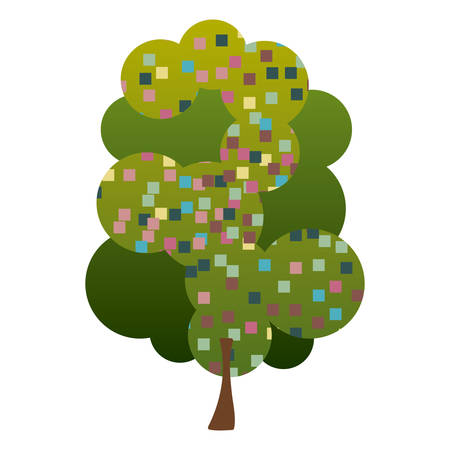 arboles frondosos: colorful silhouette leafy tree with pixels square vector illustration Vectores