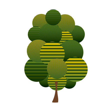 colorful green tree plant forest with abstract lines vector illustration Illustration