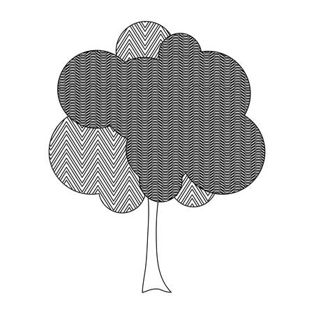 monochrome silhouette tree with zigzag and wave lines inside vector illustration Illustration