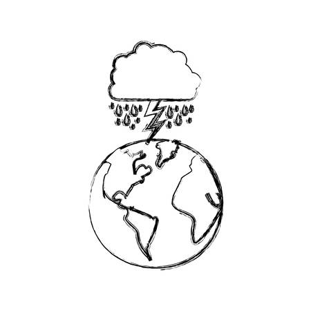 monochrome blurred contour of cloud with rain and lightning over planet earth vector illustration Illustration
