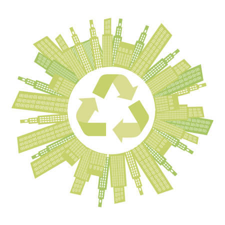 Beage city with build and help environment icon, vector illustraction