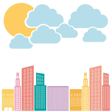 Color builds with cloud and sun icon, vector illustraction design Illustration